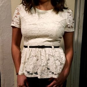 Forever 21 White Lace Peplum Top